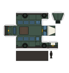 paper model of a vintage prison bus vector image