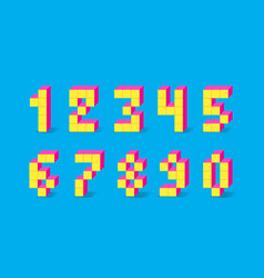 pixel retro video game numbers 80 s retro vector image
