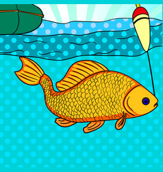 Pop art fishing fish caught on the hook carp is vector