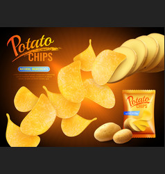 potato chips advertising background vector image