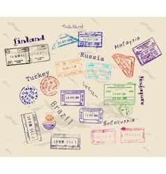 Real visa stamps from 9 countries vector image