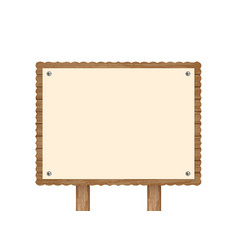 Realistic wooden signboard with fastened card vector
