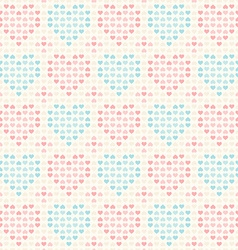 Retro seamless pattern Pink and blue hearts vector image