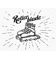 Rollerblades vintage icons vector image