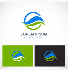 round wave ecology leaf logo vector image