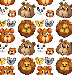 Seamless animal heads vector image