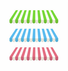 Set colorful striped awnings for shop vector