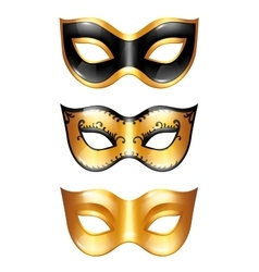 Set golden carnival venetian masks on white vector