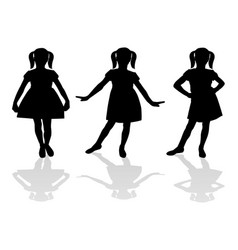 Silhouette a girl in a dress vector