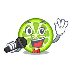 Singing green lemon slices in character fridge vector