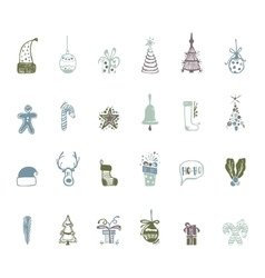 Sketch Christmas icon set handmade for your vector