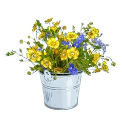 Small bouquet with meadow flowers vector image
