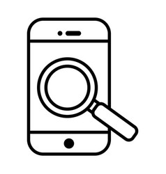 smartphone with magnifying glass line style icon vector image