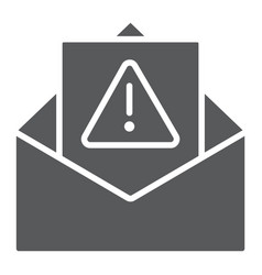 spam warning glyph icon letter and email alert vector image