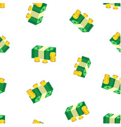 Stacks of gold coins and dollar cash seamless vector