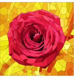 stained glass with red rose on orange and yellow vector image