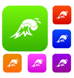 surf wave set collection vector image