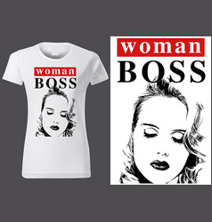 t-shirt design with inscription woman boss vector image