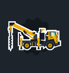 Truck drilling the object circled white outline vector