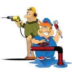 Two plumbers vector image