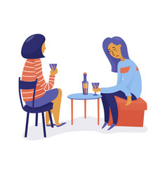 Two women drink wine one sad another listening vector