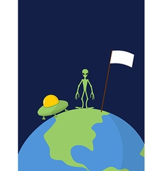 UFO and alien with white flag stands on Earth vector image vector image