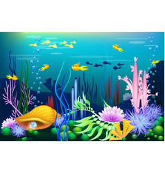 undersea world with golden seashell fish and vector image