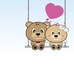 Wedding bears sitting on a swing vector image