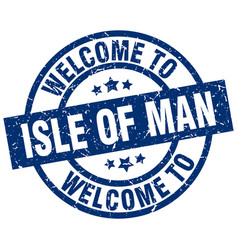 welcome to isle of man blue stamp vector image