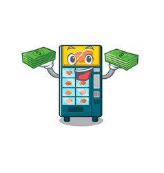 With money bag bakery vending machine in a mascot vector