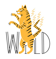 with tiger standing on legs and lettering word vector image