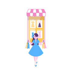 woman carries shopping bags from huge mobile phone vector image