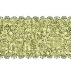 Green lace flowers horizontal seamless pattern vector image vector image
