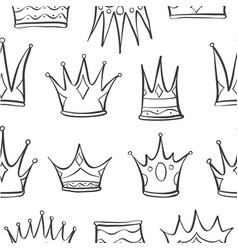 pattern crown hand draw art vector image vector image