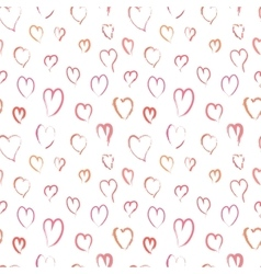 Pink hand drawn hearts seamless pattern vector image vector image