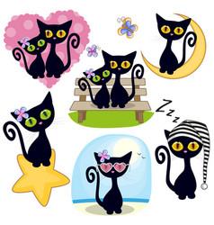 set of cute cartoon cat vector image