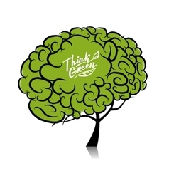 Think green Brain tree concept for your design vector image vector image