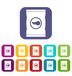 Chips plastic bag icons set flat vector