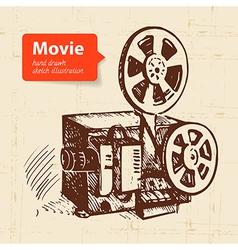 Hand drawn movie Sketch background vector image vector image