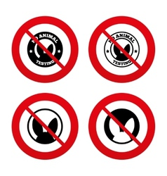 No animals testing icons Non-human experiments vector image