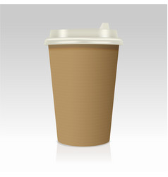Realistic take away paper coffee cup vector