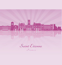 saint etienne skyline in purple radiant orchid vector image vector image