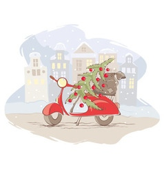 Santa Claus scooter vector image vector image