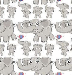 Seamless different post of elephant vector image