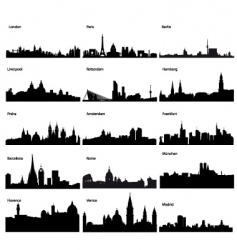 silhouettes of European cities vector image vector image