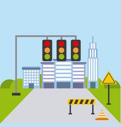 street urban city building structure traffic vector image