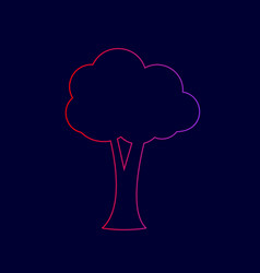 tree sign line icon with vector image