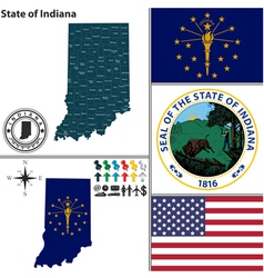 Map of Indiana with seal vector image vector image