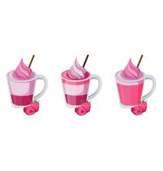 summer raspberry cocktail fruits set fresh vector image vector image