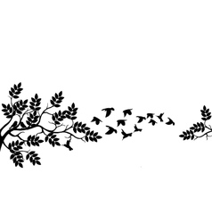 tree silhouette with birds flying vector image vector image